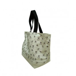 Frenchie Double Sided Canvas reversible Tote Bag with French Bull Dog Print on Milk White Fabric