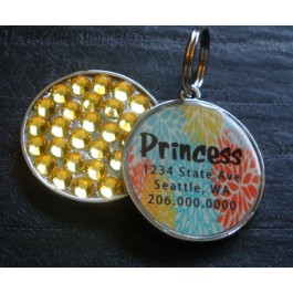 Colorful Design Pet ID Tag w/ Swarovski Rhinestones