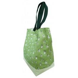 Frenchie Double Sided Canvas reversible Tote Bag with French Bull Dog Print on Grass Green Fabric