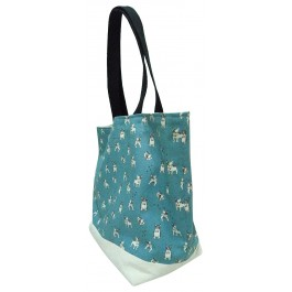 Frenchie Double Sided Canvas reversible Tote Bag with French Bull Dog Print on Sky blue Fabric