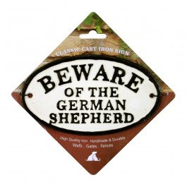 Beware Of The German Shepherd Cast Iron Oval Sign