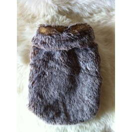 Brown Faux fur Dog Coat by Vienna Couture Canine