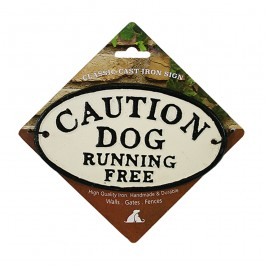Caution Dog Running Free Cast Iron Oval Sign