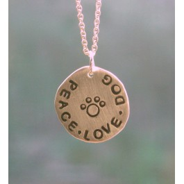 Sterling Silver PEACE LOVE DOG Disk Necklace