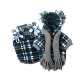 Blue Plaid Fleece Dog Hoodie