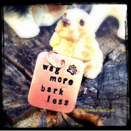 "Stamped Copper Dog Tag - ""Wag More, Bark Less"""