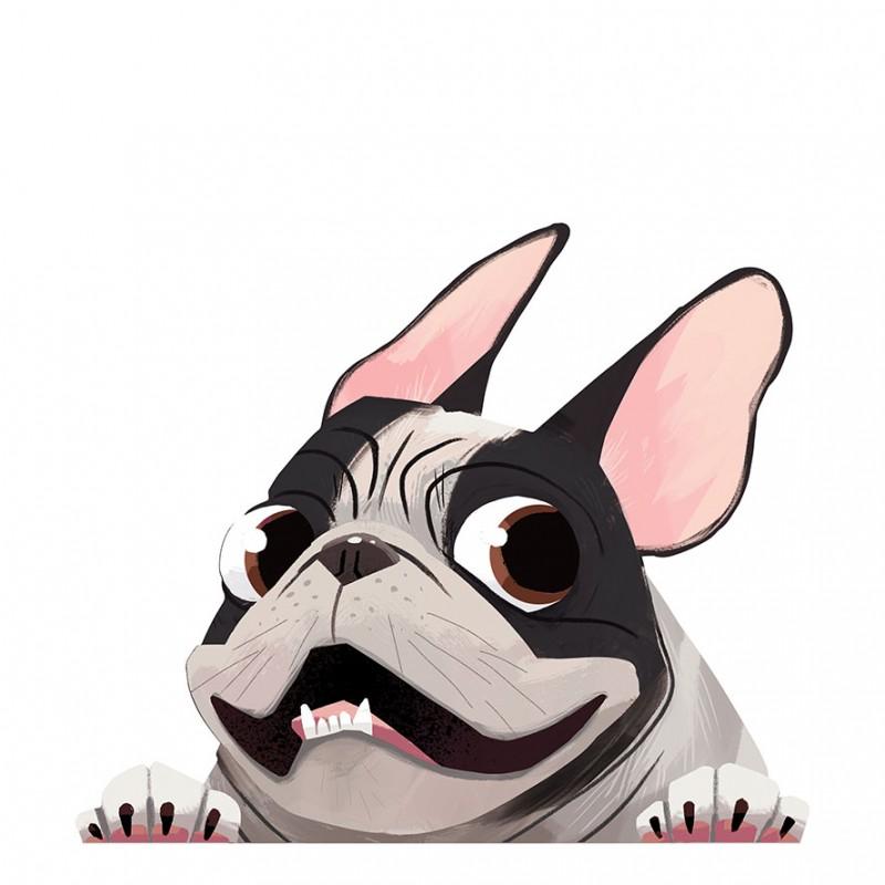 Pied Brindle French Bulldog Car Sticker Decal