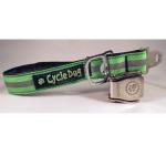 Recycled Bike Tube Dog Collar - Green Reflective w/Metal Latch-Lock