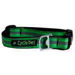Recycled Bike Tube Dog Collar - Green Reflective